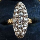 Stunning 18ct 18k gold & silver victorian 1.20ct rose cut diamond navette vintage antique ring